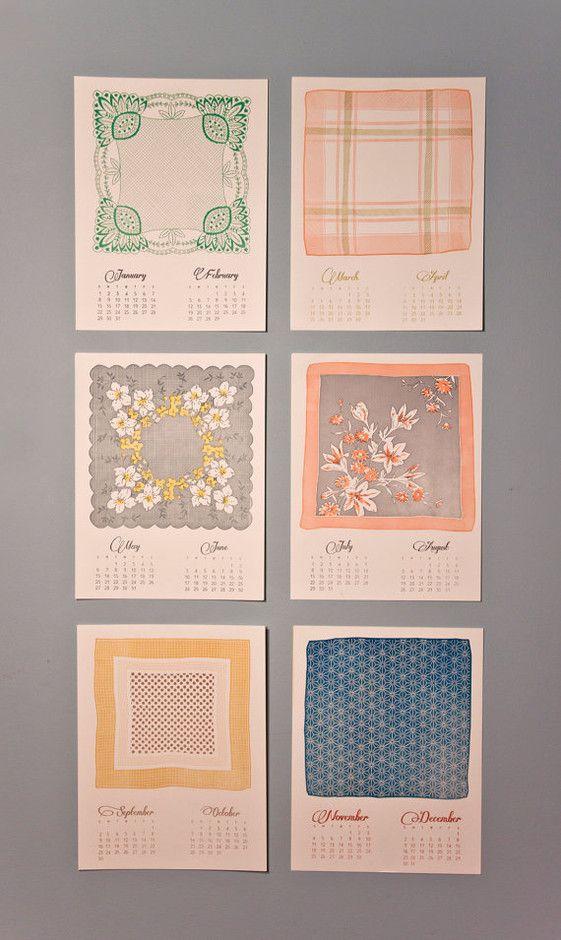calendrier mouchoir vintage