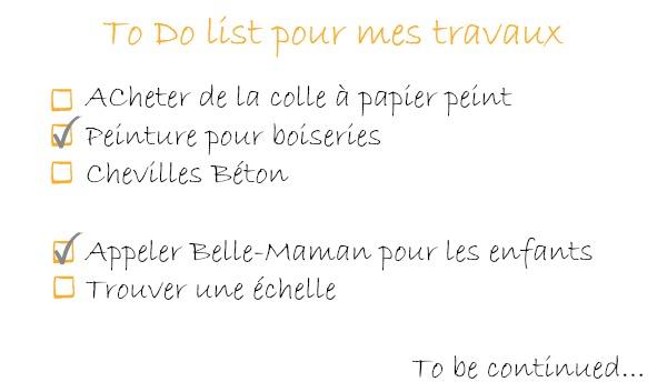 Travaux deco to do list