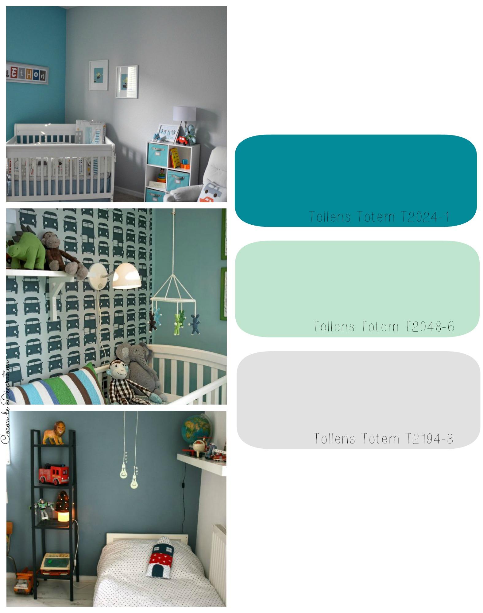 Projet d co chambre d enfants cocon de d coration le blog for Peinture chambre vert canard