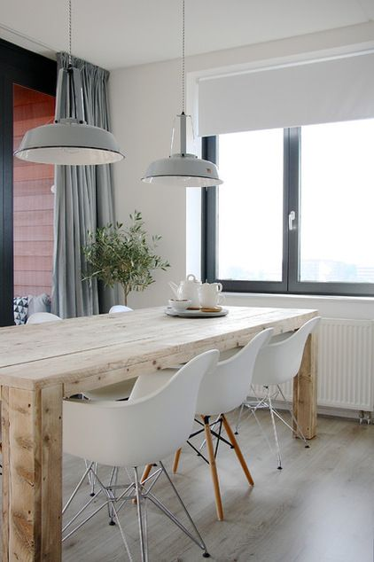 Inspiration salle manger contemporaine cocon de for Table a manger bois et blanc