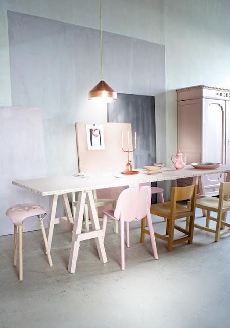 table cuisine pastelle