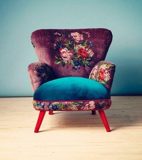 fauteuil velours deco florale