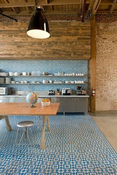 cuisine carreaux de ciment sol et mur