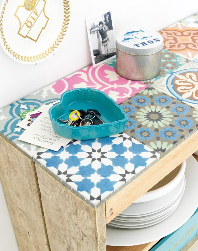 deco recup palette carreau de ciment - Colorer Ciment