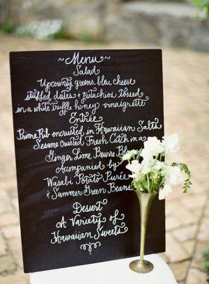 menu deco mariage noir et blanc ardoise