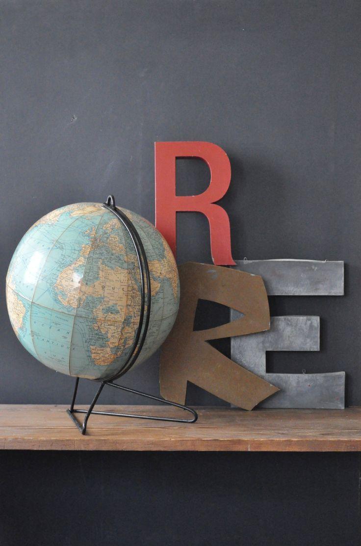 Globes terrestres et autre mappemondes dans notre int rieur cocon de d cora - Lettre industrielle deco ...