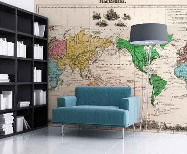 idee deco salon bureau carte du monde