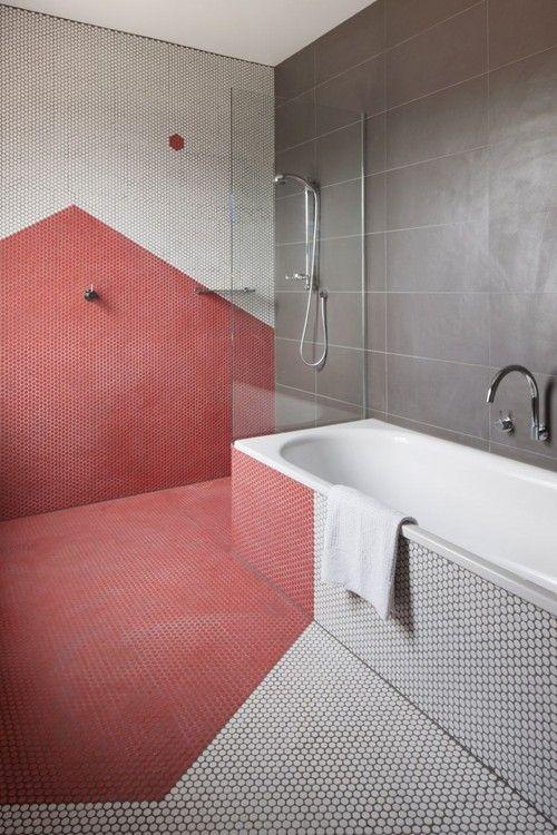 salle de bain deco couleur graphique