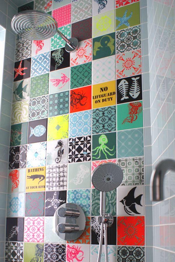 salle de bain deco carrelage motif et couleur