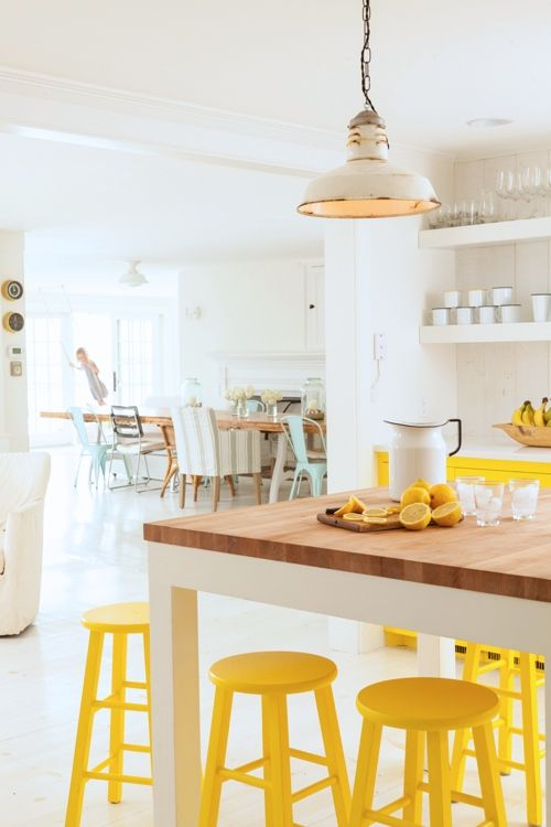 deco cuisine jaune et blanc