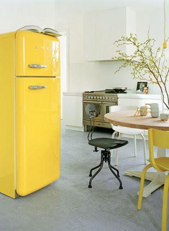 frigo smeg jaune deco indus