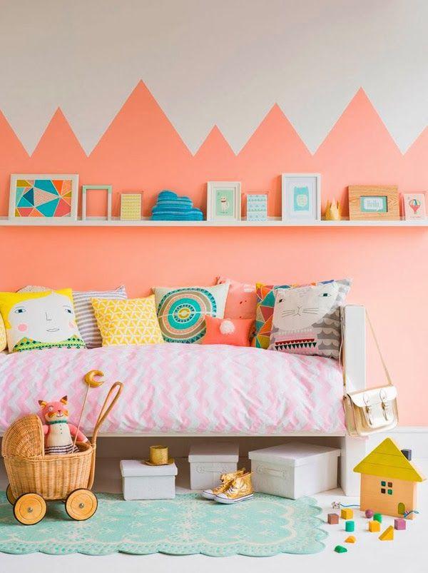 Chambre Gris Perle Et Mauve : Une touche de corail dans la chambre – Cocon de décoration le blog