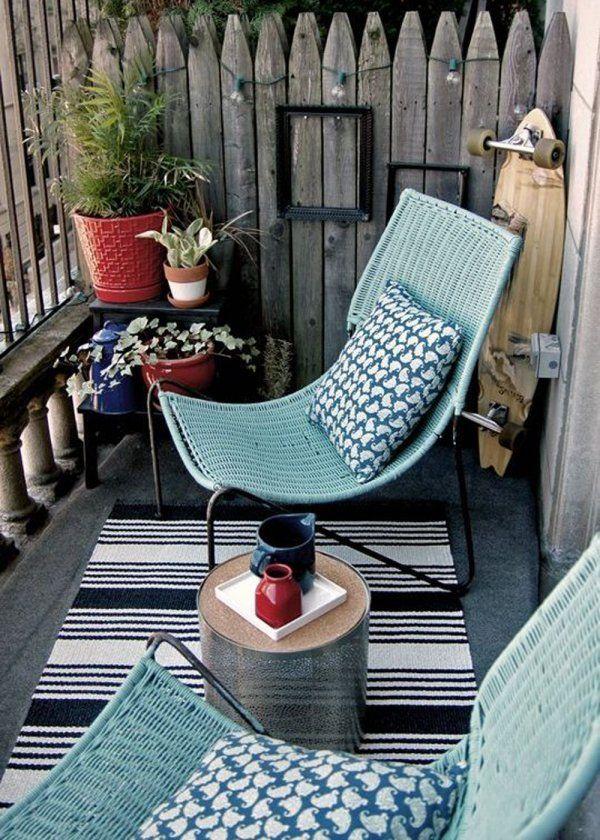 petit balcon gris et vert cosy