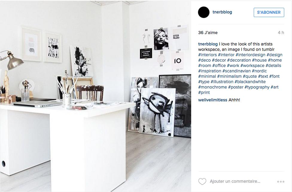 Bureau deco instagram blanc noir dessin