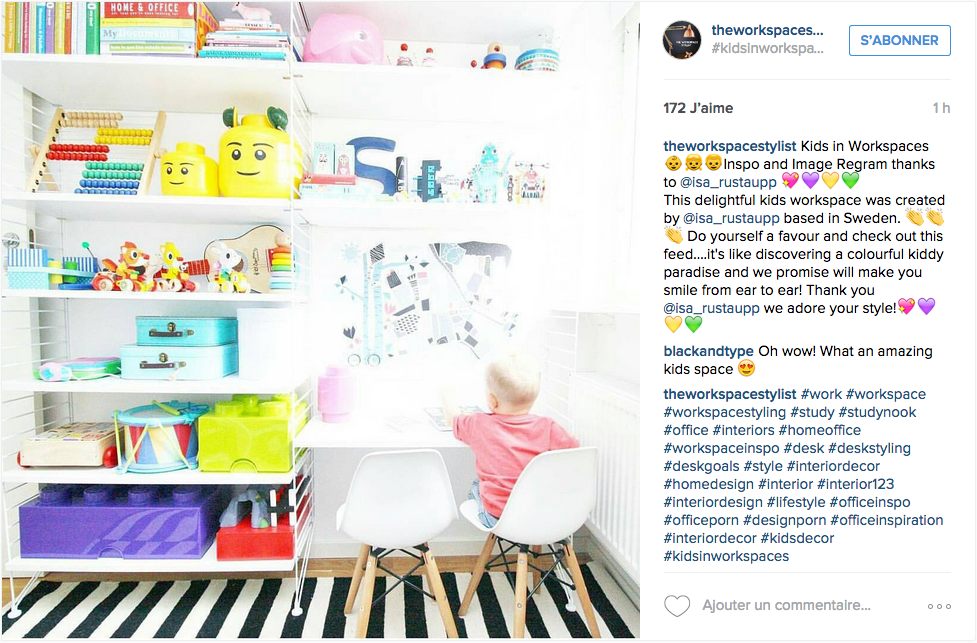 Instagram une tonne d id es pour un joli bureau cocon de d coration le blog - Idee rangement bureau ...