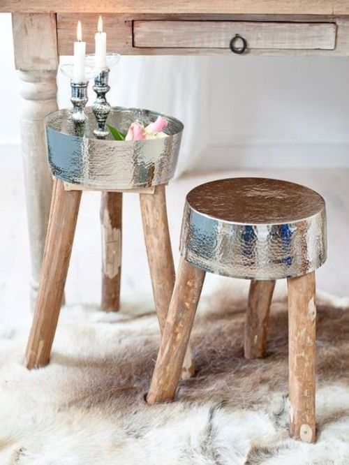 gueridon deco bois metal martele feminin chic authentique