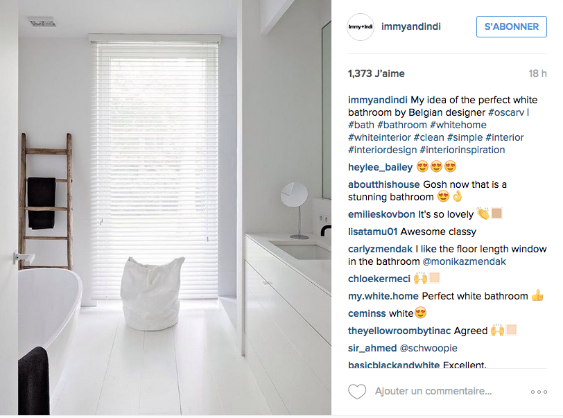Instagram des id es d co pour la salle de bain cocon - Deco salle de bain blanche ...