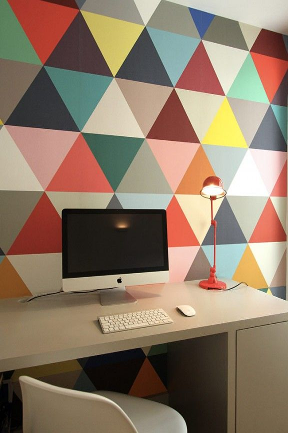 deco papier peint triangle couleur graphique