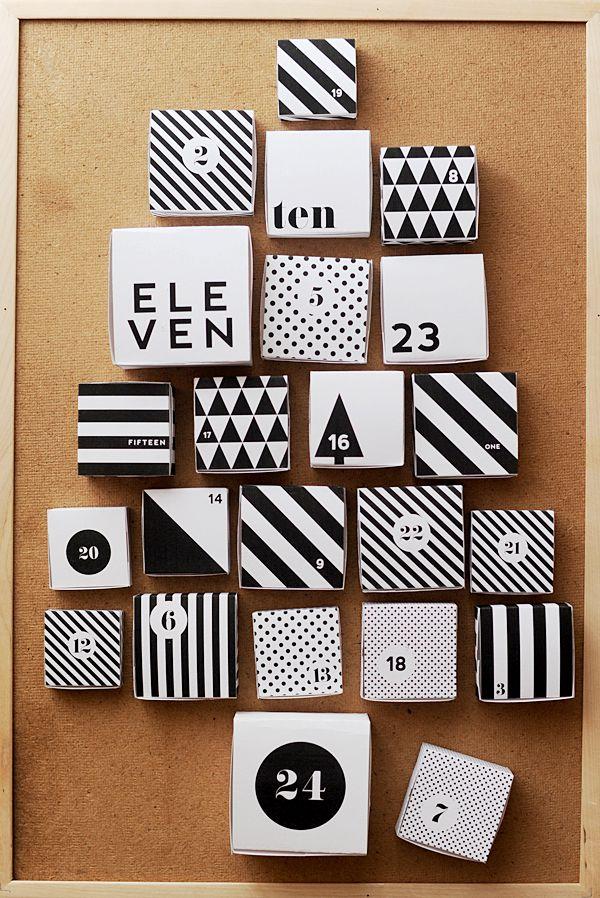 diy calendrier de lavent noir et blanc graphique