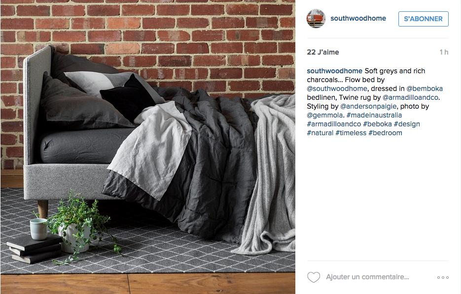 instagram chambre deco neutre industriel brique