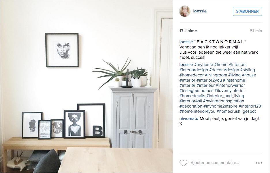 instagram idee deco salon cadre