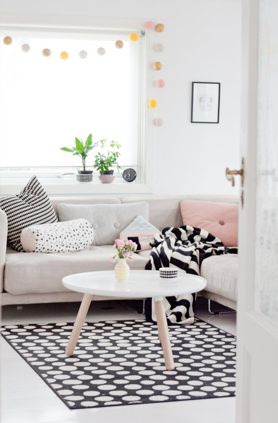 deco tapis noir et blanc pois - Tapis Deco