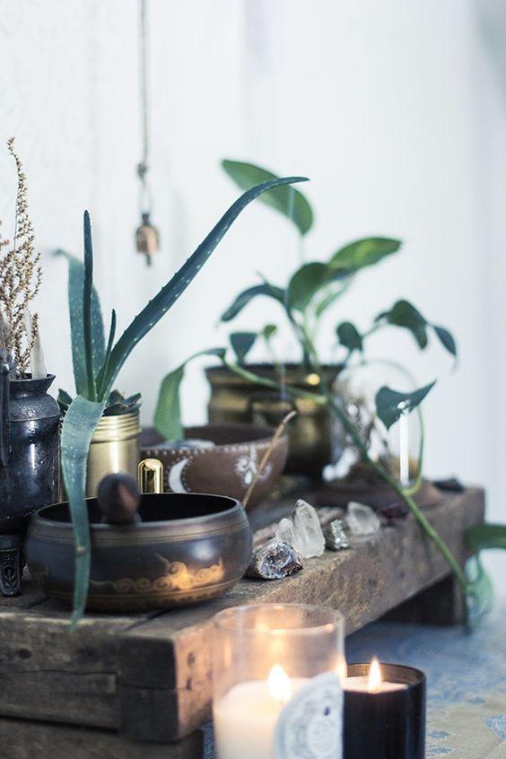 meditation deco autel bougie et bol