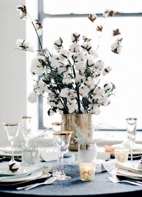 deco de paque table fleur de coton
