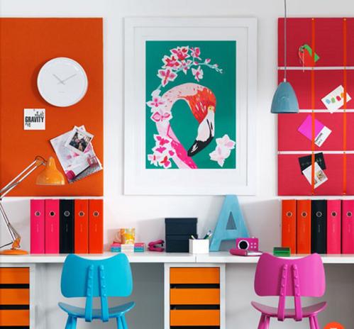 bureau colore decoration