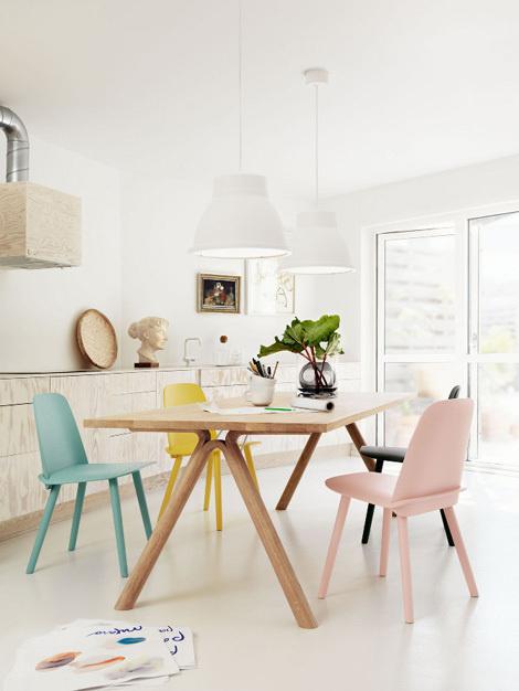 cuisine blanche chaises pastel