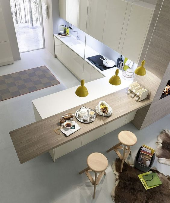 inspiration minimaliste cuisine bois blanc beton