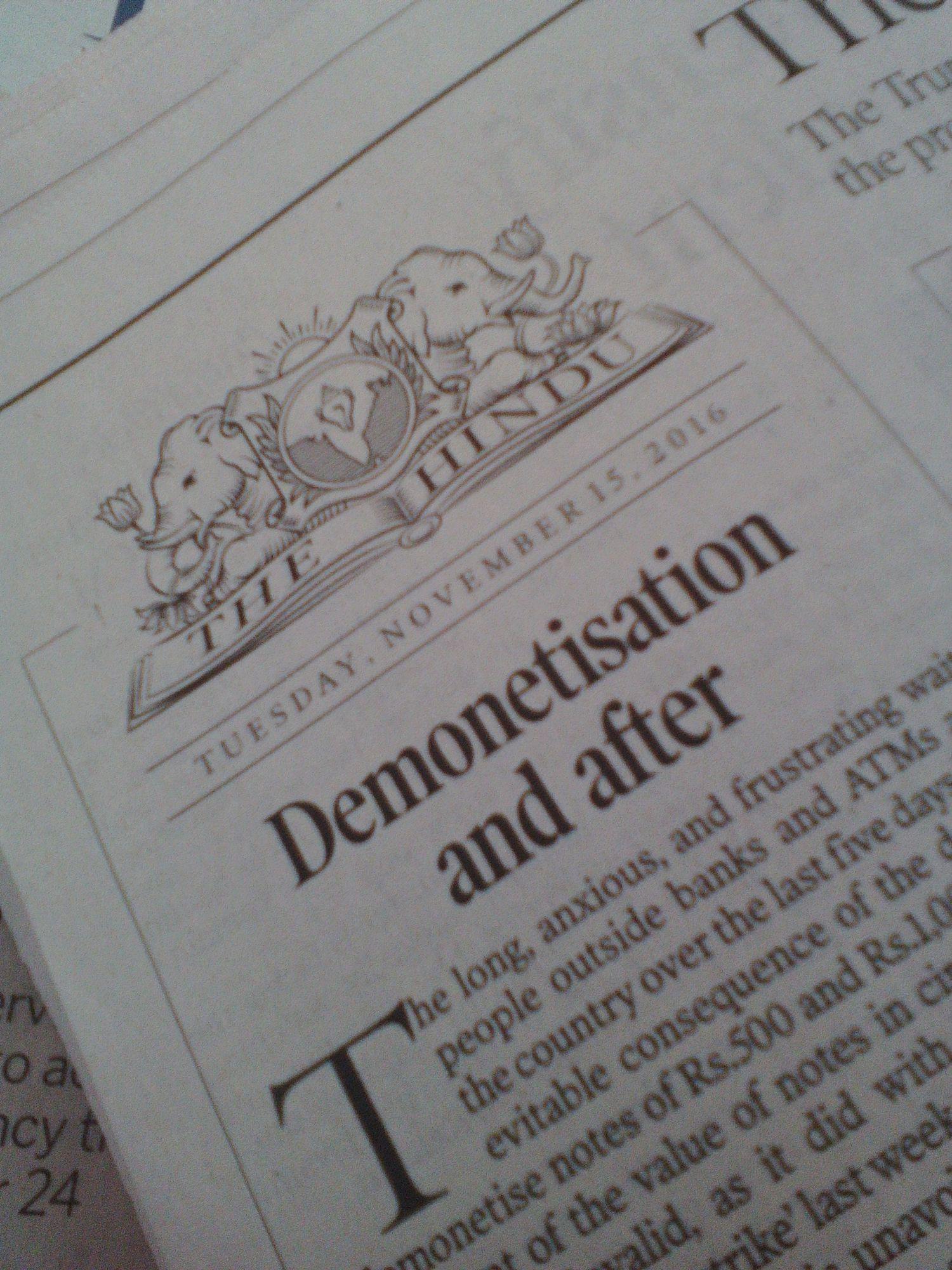 the hindu demonetisation roupie 500 et 1000