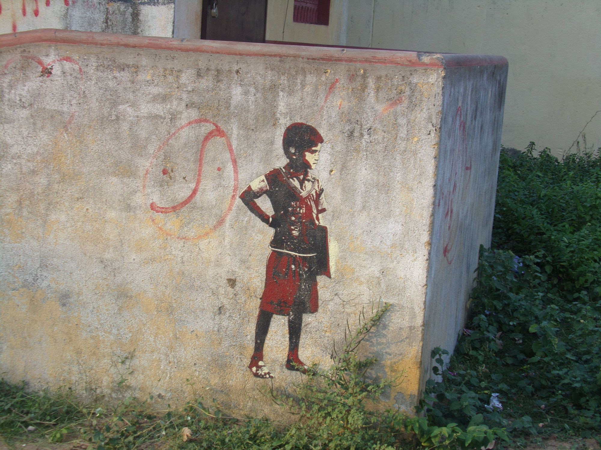 street art pondicherry enfant mur