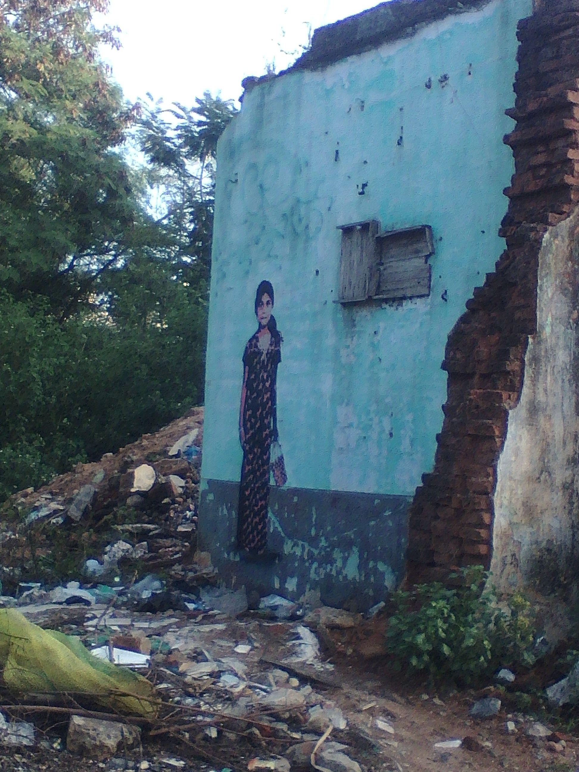 streetart pondicherry fillette