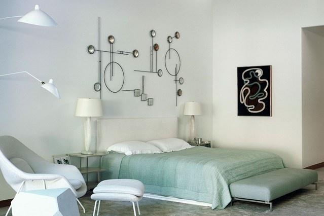 deco chambre vert et blanc classe elegante