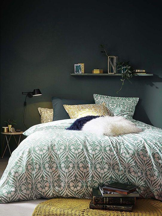housse de couette deco chambre lit vert et blanc