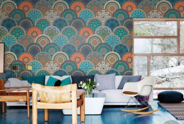N ayez pas peur du papier peint motif cocon de - Deco papier peint salon ...