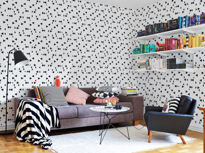 papier peint noir et blanc triangles