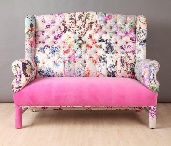 canape deco design rose et imprime