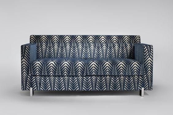 canape imprime design motif bleu