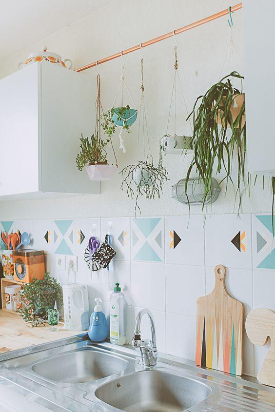 deco cuisine plante tombante idee