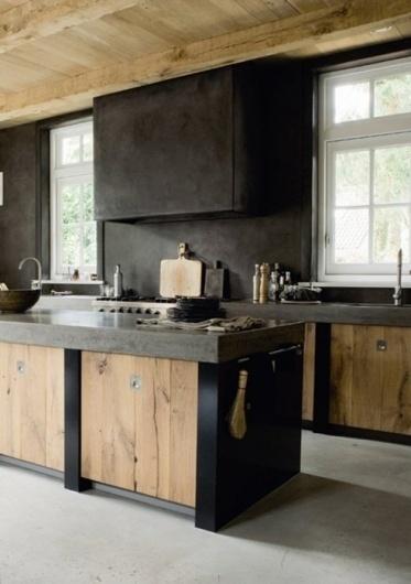 cuisine deco bois mobilier metal