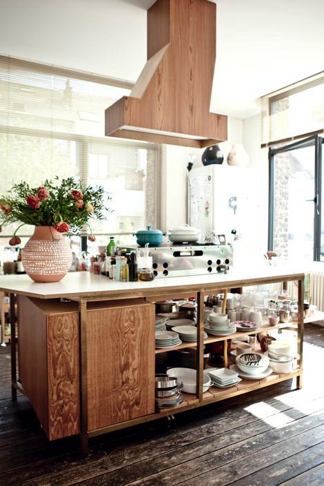 cuisine decoration ilot central bois contemporain