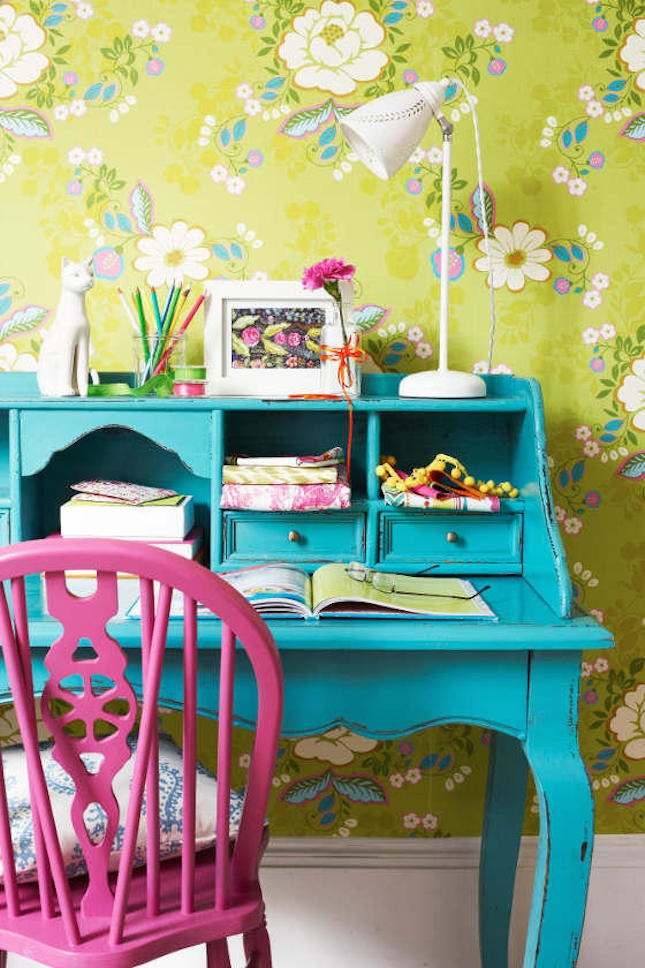 deco bureau creatif papiper peint couleur peps