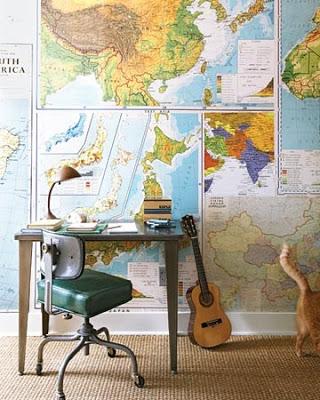 deco bureau papier pient carte geographie