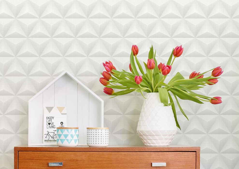 papier peint tendance ton sur ton geometrie