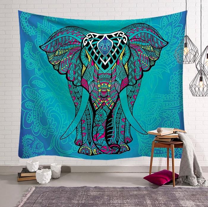 tenture boheme imprimee elephant