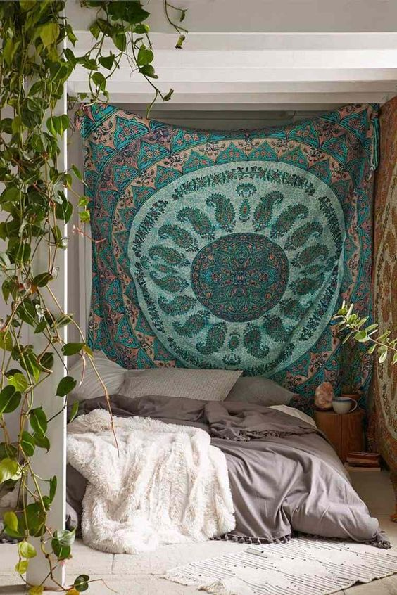 tenture decoration imprime motif vert tendance boheme
