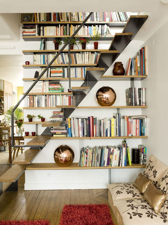 deco contraste bois metal escalier contemporain