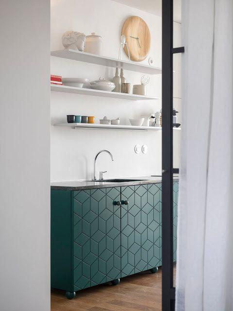 deco cuisine mobilier vert design contemporain